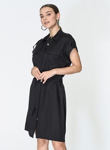 Loves You Kuşaklı Tensel Gömlek Elbise Siyah